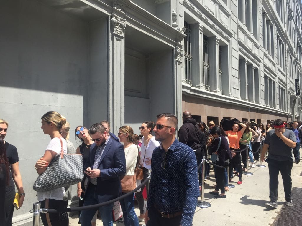 line on the way to the Jimmy Choo sample sale