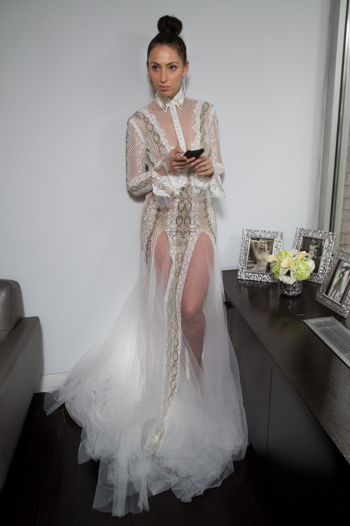Sample Sale Bridal Inbal Dror long sleeve lace cutting edge gown