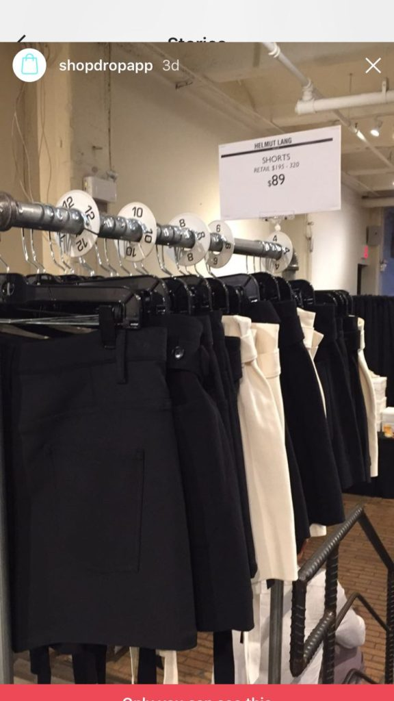 Skirts at the Helmut Lang sample sale at Chelsea Market
