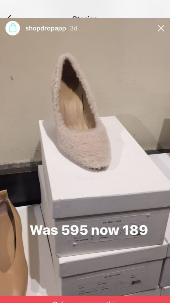 Cute furry heels at the Helmut Lang sample sale