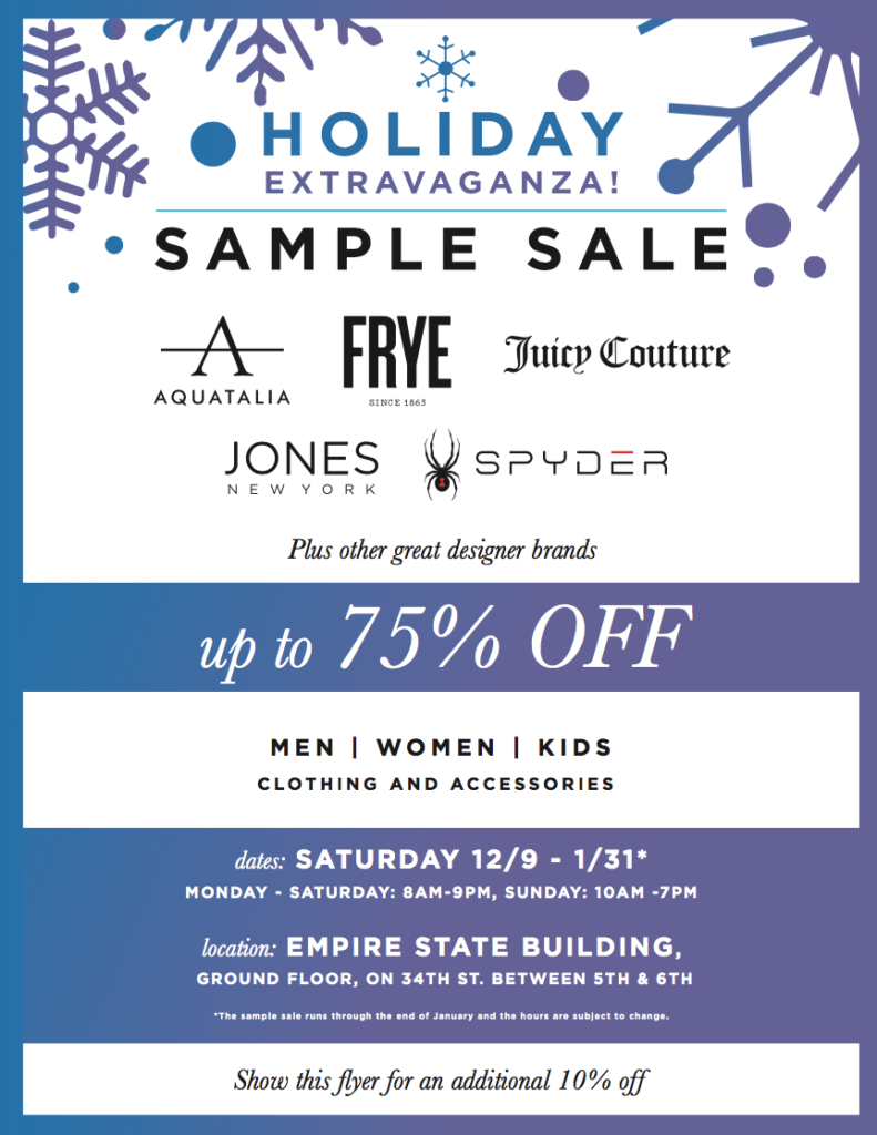 Present this image for an additional 10% off at the sample sale