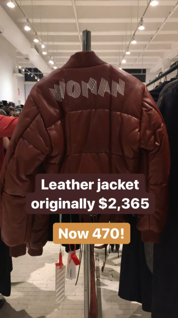 Off White leather jacket at the Fivestory Sample Sale