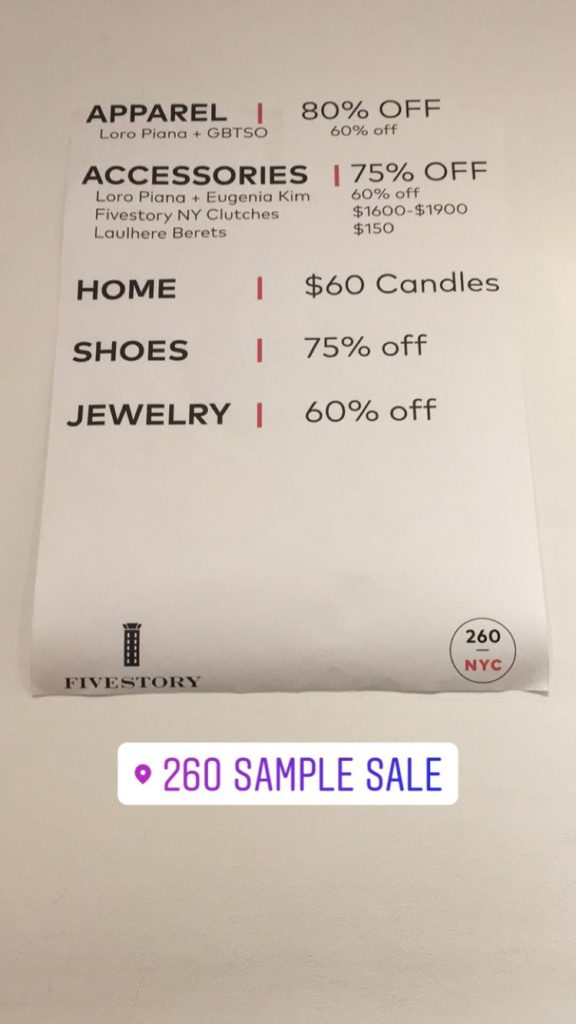 Fivestory Sample Sale price list