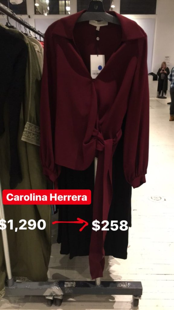 Carolina Herrera blouse at the Fivestory Sample sale