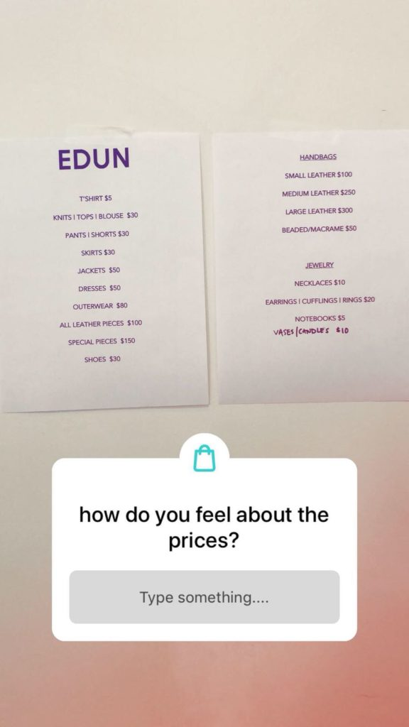 EDUN SAMPLE SALE SHOPDROP APP